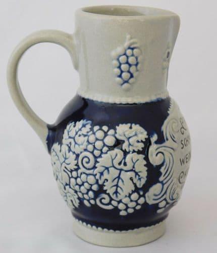 German stoneware pitcher Marzi & Remy small blue wine jug Krug von Stein